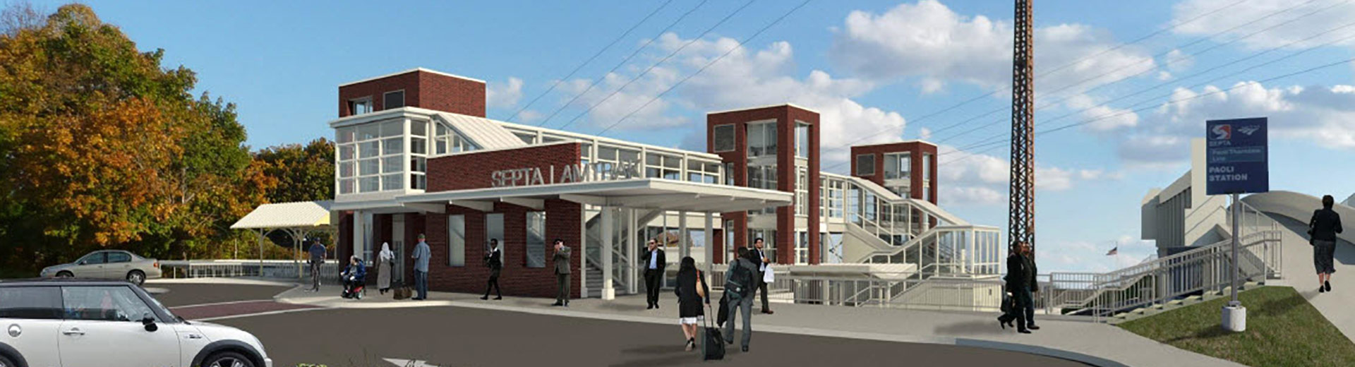 artist rendering of future Paoli Transportation Center