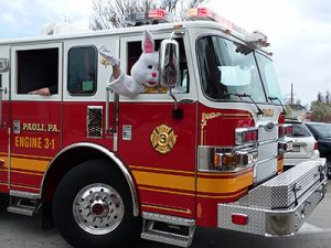Easter Bunny in fire truck